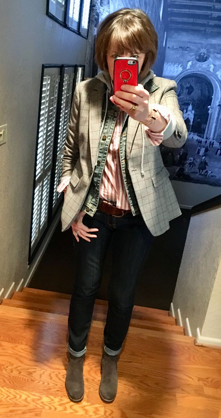 Layers:  red and white striped shirt H&M, denim jacket F21, plaid blazer H&M, Max Mara belt, Lucky jeans, Trask boots