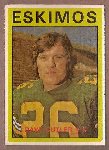 Dave Cutler CFL card 1972 O-Pee-Chee #96 Edmonton Eskimos Simon Fraser Clansmen Hall of Fame