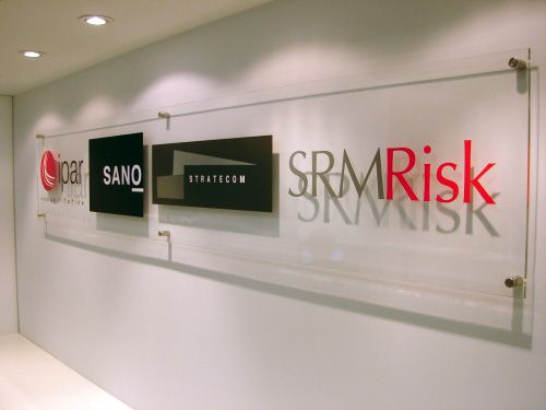 Corporate Office Sign In Clear Acrylic With Decaled 1 4 Appliqued Logos Like This Interior Lobby For Your Reception Area