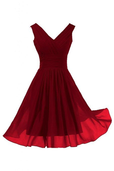 Sunvary Elegant V Neckline Chiffon Cocktail Party Dresses Bridesmaid Dresses Short - US Size 2-Burgundy