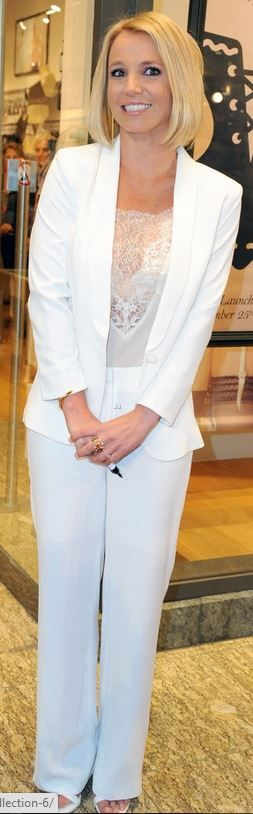 Who made  Britney Spears' white pant suit, lace top, sandals and jewelry that she wore in Oberhausen on September 25, 2014