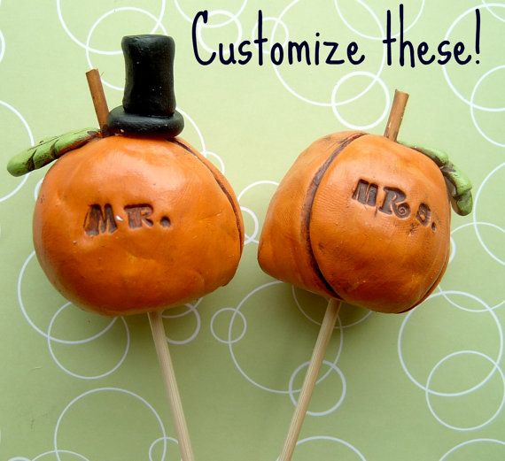 Fall Pumpkins wedding cake topper by indigotwinweddings on Etsy, $50.00