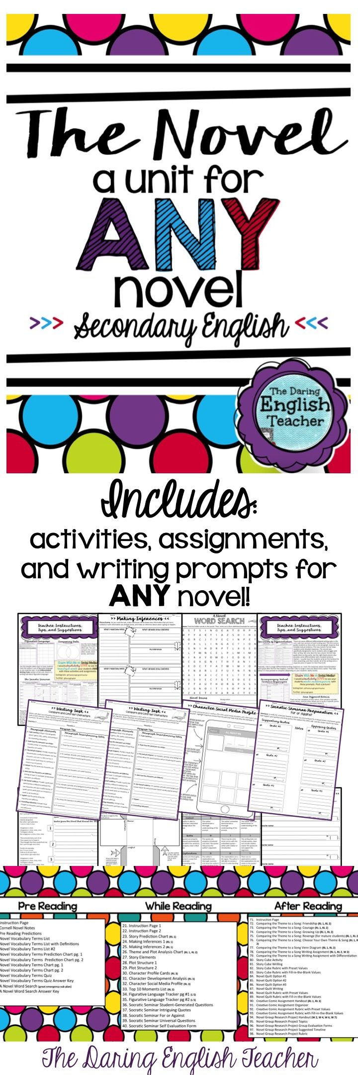 Teach ANY novel to your secondary students with this unit! It includes activities, assignments, and writing prompts that can be used with any novel!