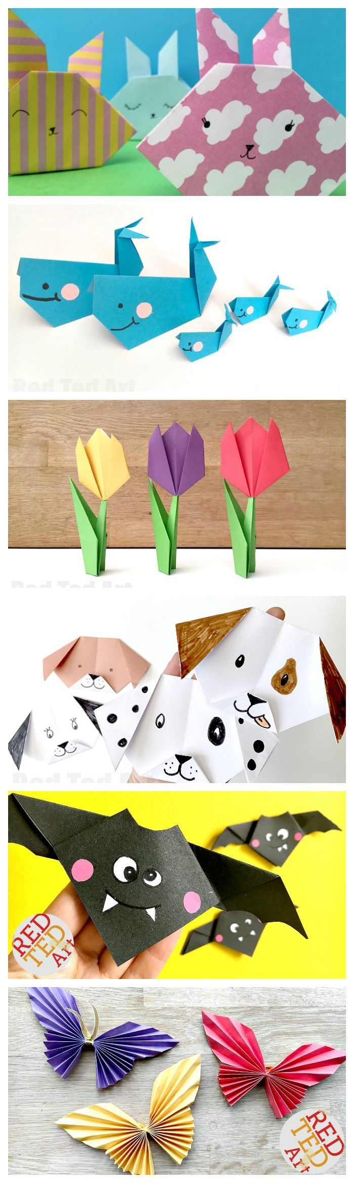"Cute & Easy Origami for Kids. We love Origami! It isn't as difficult as people sometimes perceive it to be. Many Origami Projects are great for Beginners and Kids and look fabulous, regardless of how ""neat"" the folding is. Here are some of our favourite Easy Origami for Kids ideas, that are a great way to introduce Origami folding to children. Great for fine motor skills, learning to follow instructions and co-ordination. Enjoy!"