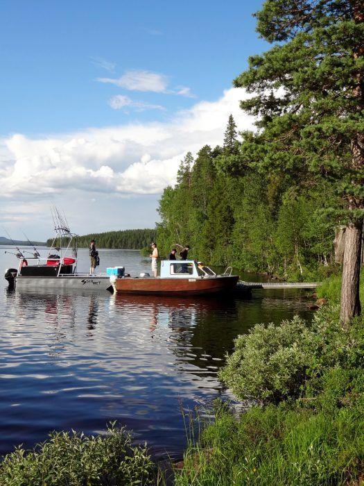 Boats of fishermen in Vaarasaari island in Miekojärvi Lake in Pello in Lapland