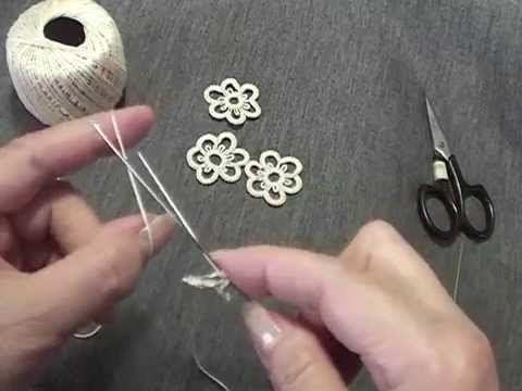 ニードル タティングレース 小花のモチーフ - YouTube