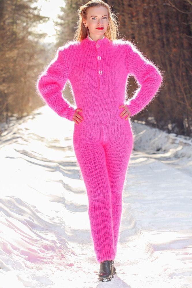 SUPERTANYA PINK Hand Knit Mohair Sweater Fuzzy Handgestrickte Catsuit ON SALE #SuperTanya #CrewneckDetachableturtleneck
