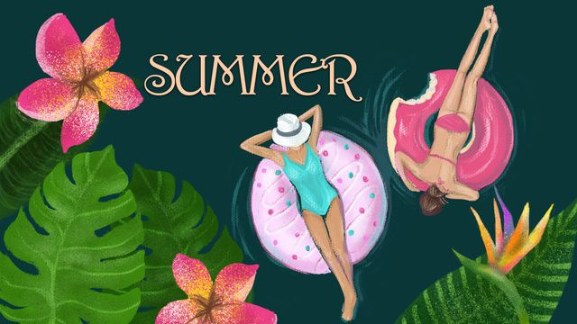 Swim Ring On Woman Summer Vacation Original Creative Illustration, Summer, Vacation, Swim Illustration Image on Pngtree, Free Download on