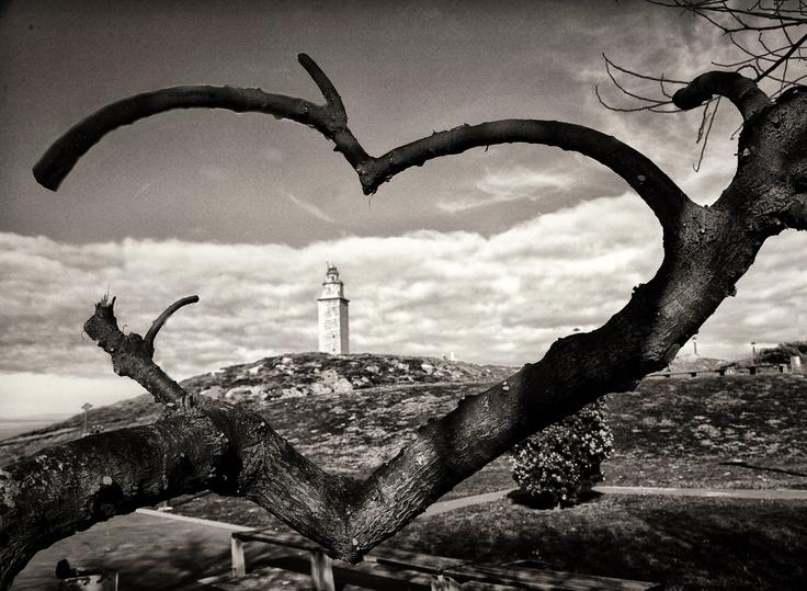 Torre de Hércules (Patrimonio de la Humanidad-UNESCO), A Coruña (Galicia-Spain) old photo.