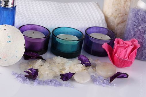 Download Free Stock Photos & Images: Different candles are accompanied by different beautiful things - Relaxation, Flower, Romance, Face Cream. photo 0007506142C