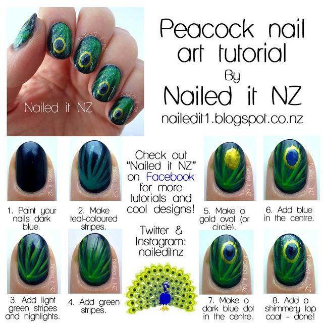 Nail art for short nails tutorial : Peacock nails - Wedding-Day-Bliss