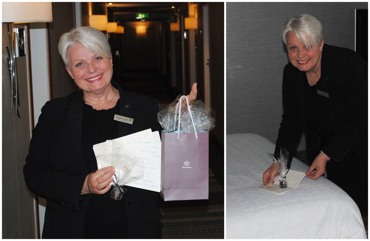"""This is our lovely Elisabet, the PA to the GM, doing her """"Thursday Treat"""" round. When you are a long staying guest you will receive a small treat every Thursday, personally delivered by Elisabet."""