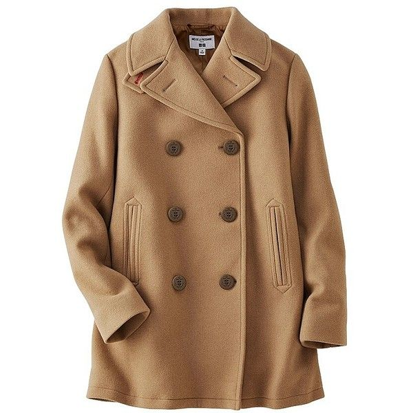 UNIQLO Ines Wool Blend Pea Coat ($87) ❤ liked on Polyvore featuring outerwear, coats, jackets, coats & jackets, tops, uniqlo coats, wool blend peacoat, pea coat, camel pea coat and brown peacoat