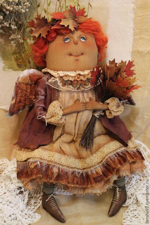 Купить Осенний Ангел - разноцветный, текстильная кукла, ароматизированная кукла, интерьерная кукла, ангел, осень