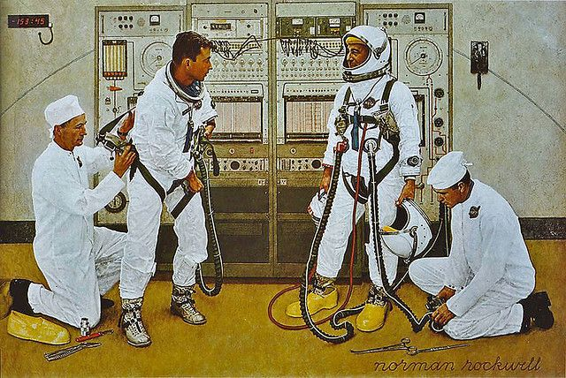1965 - astronauts - by Norman Rockwell, Astronauts Grissom and Young Suiting Up, Look Magazine
