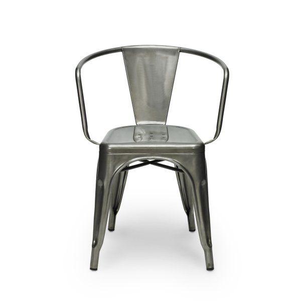 Sedia Tolix Style con braccia e metallizzata