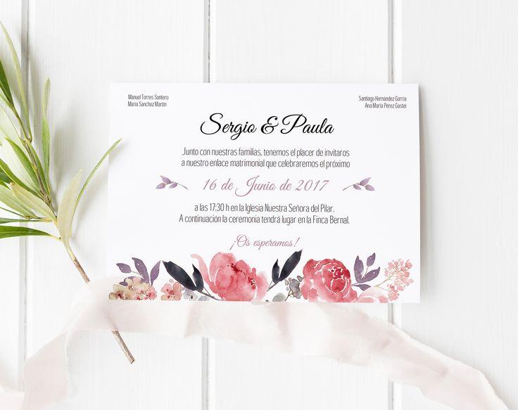 tarjeta de Boda Imprimible Imprimible Sweet Emotion. Plantilla PDF. Invitaciones imprimibles para bodas. Invitaciones de boda baratas
