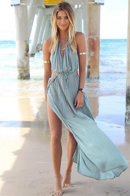 ragazze spiaggia vestiti cotone insabbiamenti hollow fuori piano lunghezza abito di costumi da