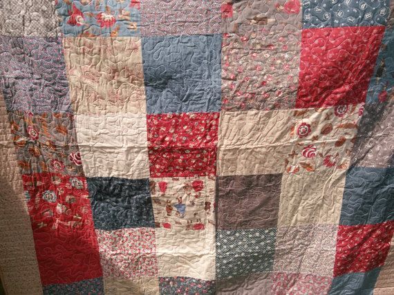 Victorian Inspired Twin Quilt with Large 10 inch Blocks in