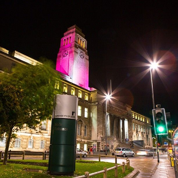 The Parkinson Building (here in pink to show its support for the fight against breast cancer)  The University of Leeds is one of four sites across the country that house Breast Cancer Campaign's pioneering Tissue Bank. You can support the Breast Cancer Campaign by texting PINK to 70907 to donate £2. This will help fund life-saving research. #breastcancercampaign