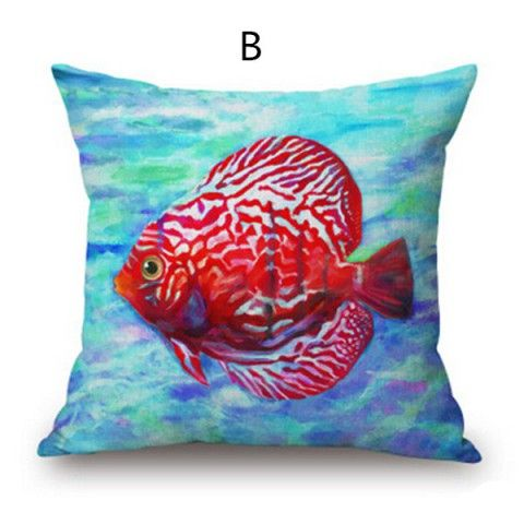 Mediterranean style watercolor fish decorative pillows for couch