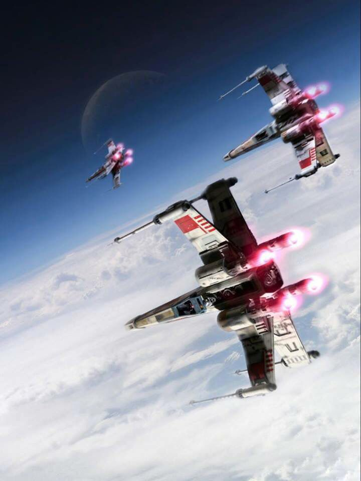 Star Wars X-Wings above the Clouds. This is a simply beautiful and relaxing image