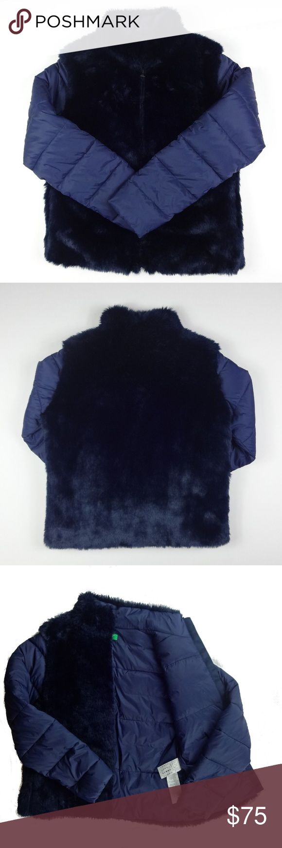 United Colors Benetton Size 8 Blue Faux Fur Jacket United Colors of Benetton Womens Size 8 Dark Blue Faux Fur Puffer Jacket EUC  Bust: 38 inches Waist: 40 inches Length from top of shoulder: 24 inches Sleeve length from shoulder seam: 24 inches  Fabric content of shell: 85% acrylic, 15% polyester Fabric content of : 100% nylon United Colors Of Benetton Jackets & Coats Puffers