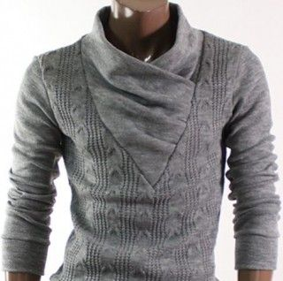 Amazon.com: Doublju Mens Pullover Shirring Neck Sweaters: gray, black, white (2)