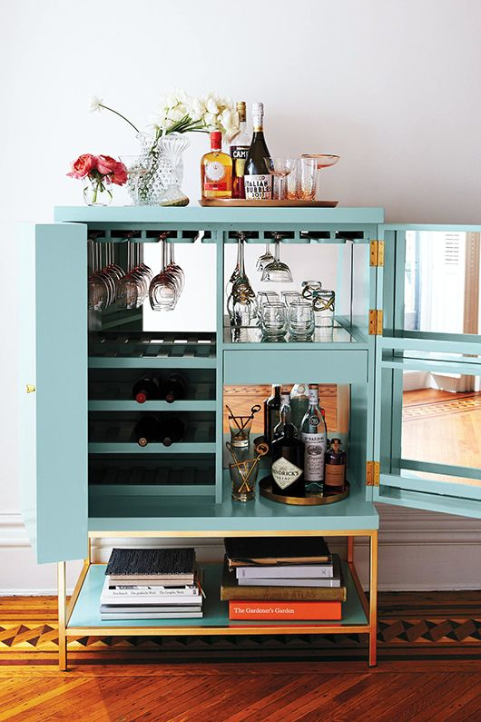 lacquered bar cabinet would be a great diy bar cart