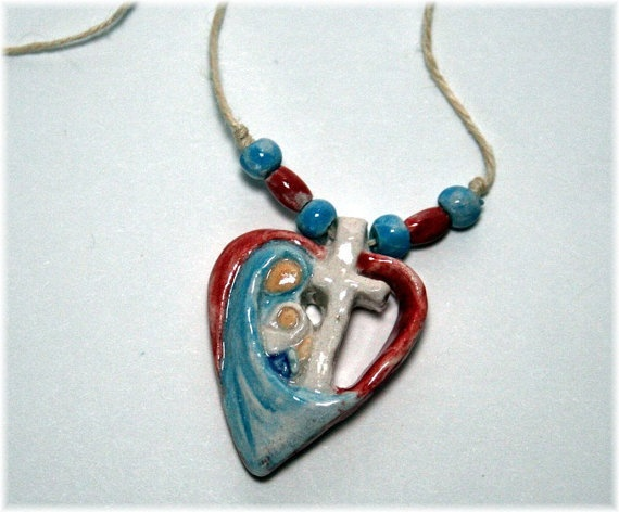 Mother and Child Heart Necklace (50147) by camp11artisan.