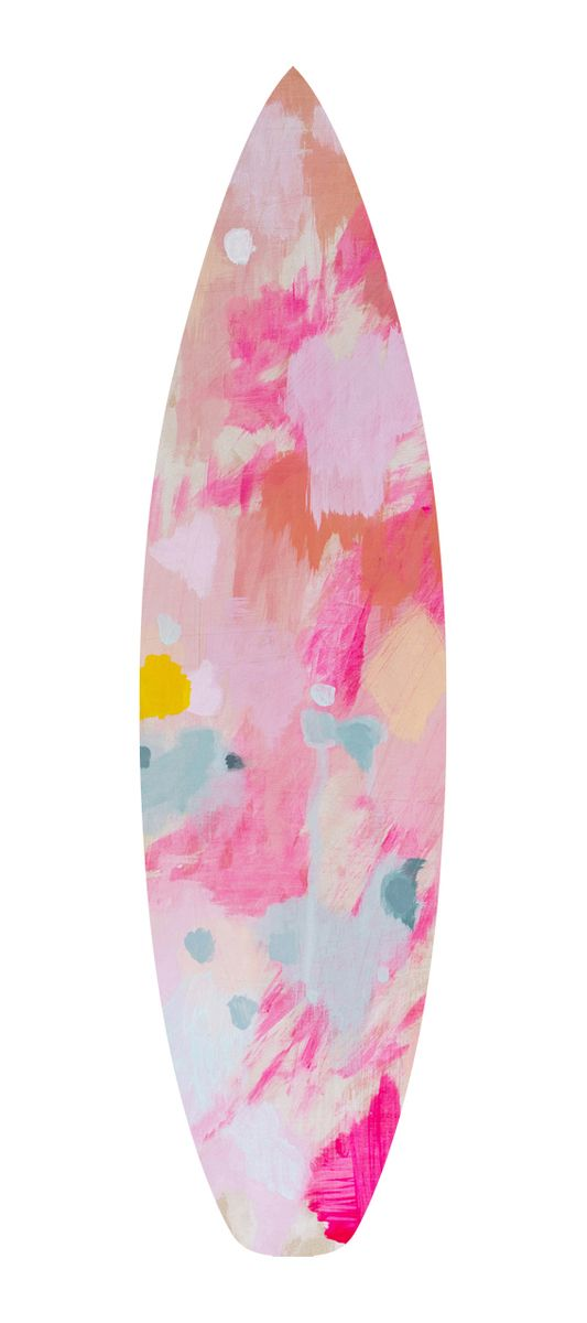 a surfboard design based on an original acrylic painting on wood by belinda marshall titled 'the first step'.