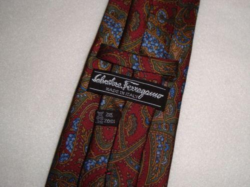 SALVATORE-FERRAGAMO-100-Silk-Paisley-Floral-Mens-Neck-Tie-Made-in-ITALY