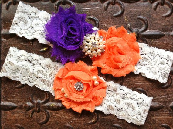 Purple and Orange Wedding Garter Purple by TheRaggedDiamond, $22.00