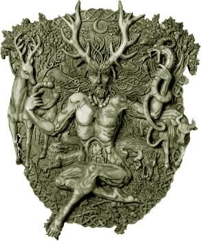 "✯ Cernunnos, also known as the ""Horn"" is a Celtic god of fertility, life, animals, wealth, and the underworld. The Druids knew him as Hu Gadarn, the Horned God of fertility. He was portrayed sitting in lotus position with horns or antlers on their heads, long curly hair, beard, naked except for a pendant around his neck, and sometimes holding a spear and a shield.✯"