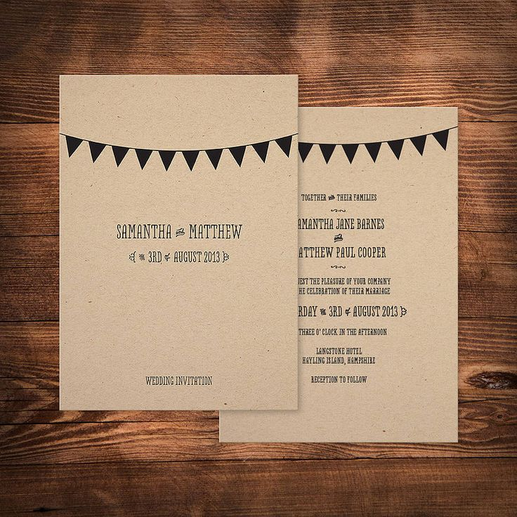 bunting wedding invitation by paperhappy   notonthehighstreet.com