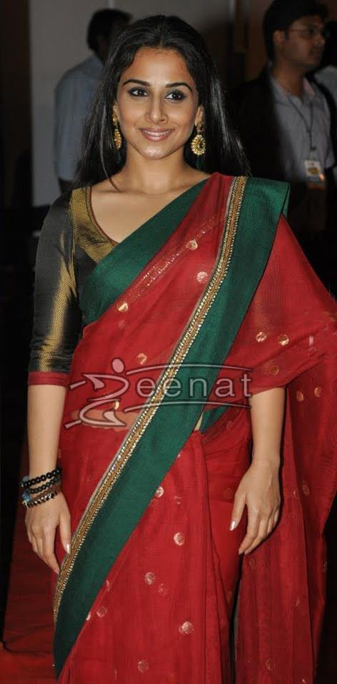 Vidya Balan looks ever so elegant in Red and Green Banaras Net silk saree