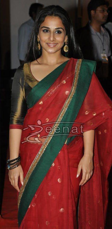 Vidya Balan looks ever so elegant in Red and Green Banaras Net silk saree