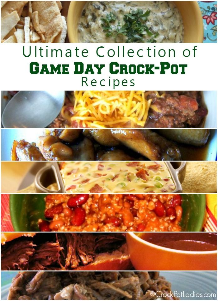 Ultimate Collection Of Crock-Pot Game Day Recipes {via CrockPotLadies.com} - This collection includes almost 100 recipes for dips, appetizers, sandwiches, chilis, wings and more. Perfect for tailgating or your next game day party!