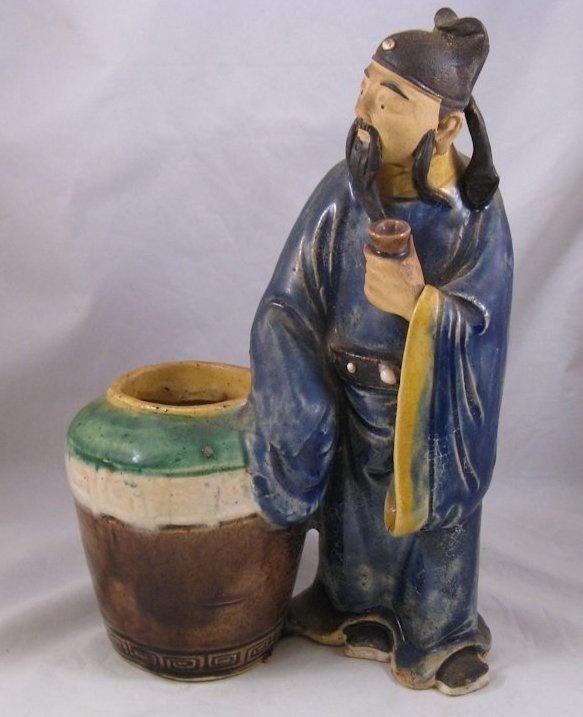 Antique large Chinese mudmen mudman with pot | eBay