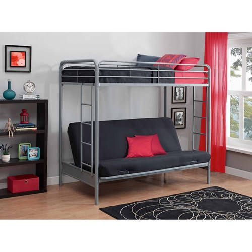 Twin Over Full Bunk Bed Metal Bottom Easily Converts To Futon Kids