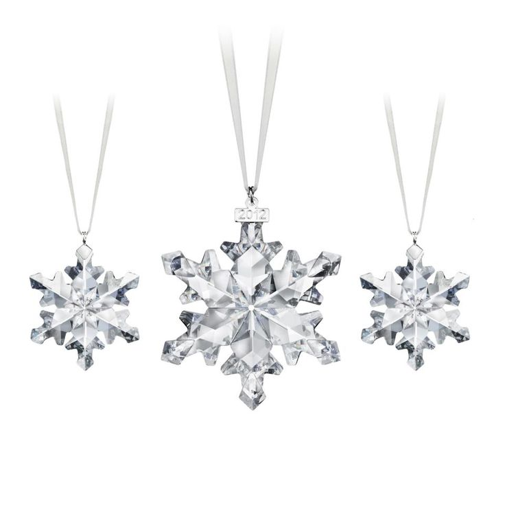 Swarovski Annual Edition 2012 Christmas Ornament and two Little Snowflake  ornaments