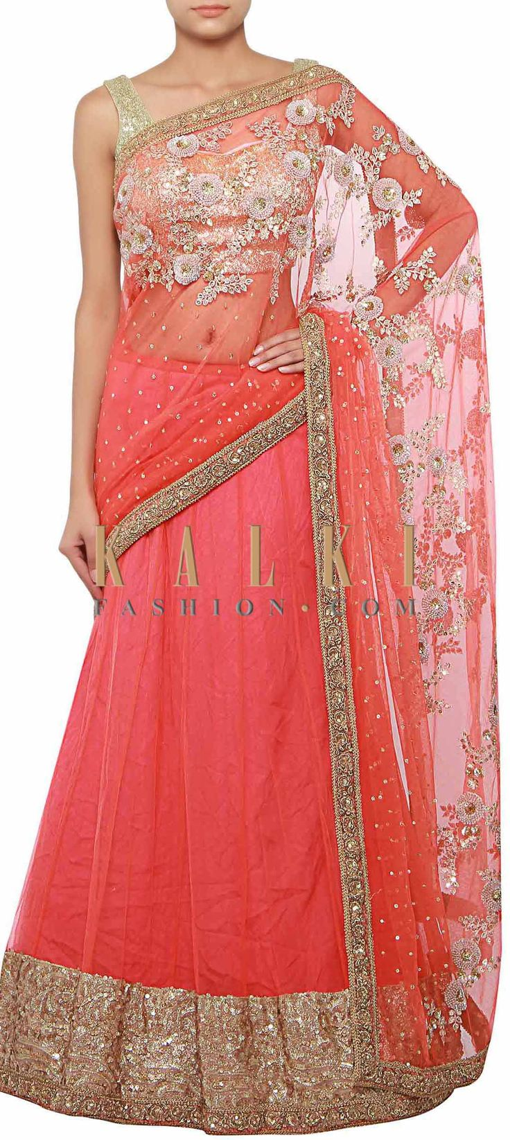 Buy Online from the link below. We ship worldwide (Free Shipping over US$100) http://www.kalkifashion.com/orange-lehenga-saree-enhanced-in-sequin-and-french-knot-embroidery-only-on-kalki.html