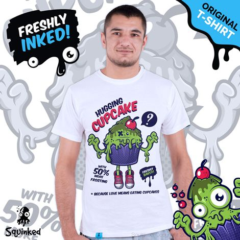 Green Hugging Cupcake... *Original Squinked T-shirt for Men. *Tricou Original Squinked pentru Barbati.