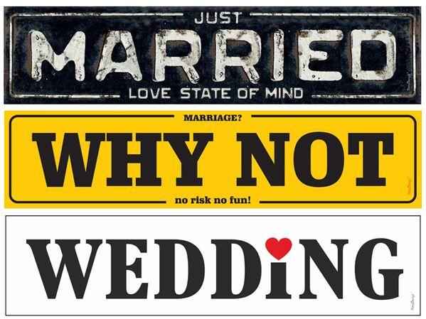 Bilskilt til bryllup #bilpynt