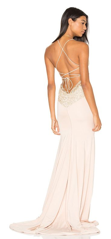 Jay & co gown by Gemeli Power. 90% poly 5% elastane 5% spandex. Dry clean only. Fully lined. Adjustable shoulder straps with back tie closure. Lace ...