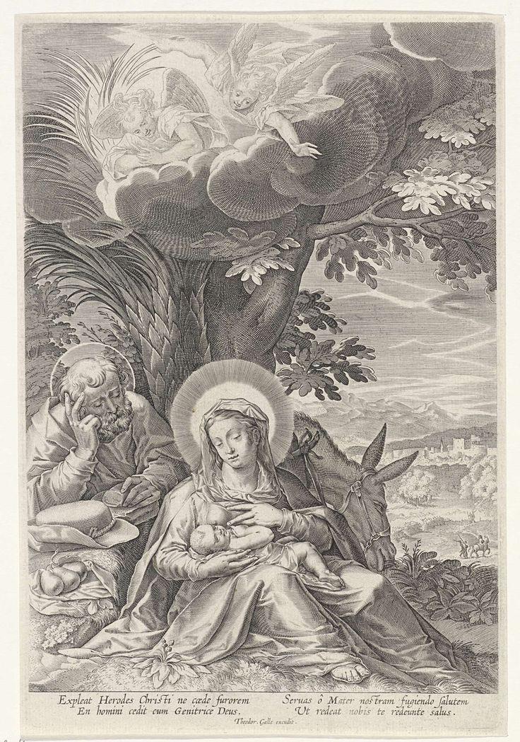 Johann Sadeler (I) | Rust op de vlucht naar Egypte met engelen, Johann Sadeler (I), Anonymous, Theodoor Galle, 1587 - 1633 | Heilige Familie rustend op de tocht naar Egypte. Maria voedt het Christuskind onder een palmboom. Bovenin de wolken twee engelen. Rechts een landschap