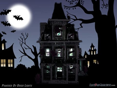 LEGO Haunted House with Lights - http://thebrickblogger.com/2012/10/light-up-your-halloween-lego-haunted-house/