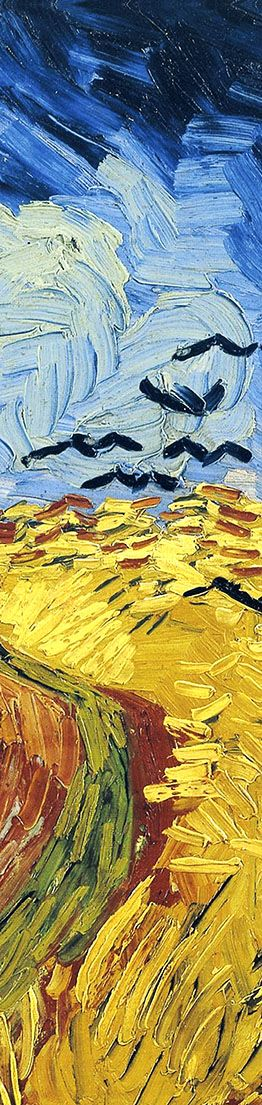 Van Gogh Wheatfield with Crows (Detail) July, 1890. This detail shows the remarkable rhythmic unity Van Gogh's paintings had acheived in his later work. The shape of the crows is virtually identical to the top of sheaves of wheat. Using the same shape, but only in darkening shades of color, the gold of the wheatfields morphs into the black of the crows, making for a spectacular visual rhyme. In-depth analysis and art prints…