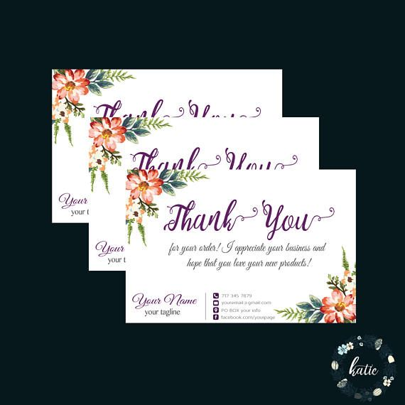 Custom thank you card, Floral thank you card, printable thank you, thank you note, personalized cards 011