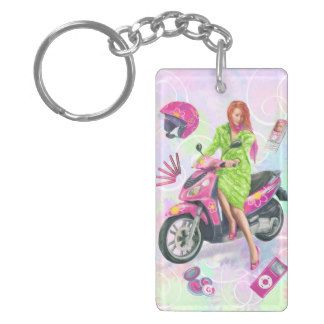 Pretty girl on moped keychain